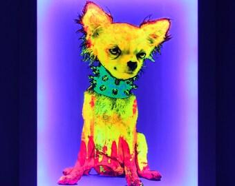 Chihuahua Dog Painting - Light Box with UV LED frame