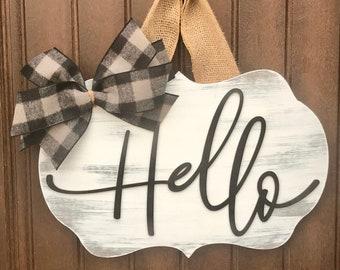 Modern Door Hanger, Front Door Decor, Door Wreath, Hello Door Sign, Door Plaque, Front Door Sign, Hello Door Hanger, Modern Door Decor