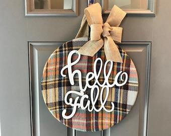 Fall Wreath, Fall Door Hanger, Hello Fall, Fall Door Decor, Autumn Door  Wreath, Plaid Decor, Front Door Decor, Door Decoration, Fall Decor