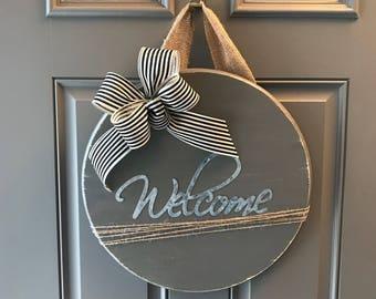 Welcome Door Hanger, Front Door Decor, Gray Front Door Sign, Housewarming Gift, All Year Door Hanger, Anniversary Gift, Welcome Sign