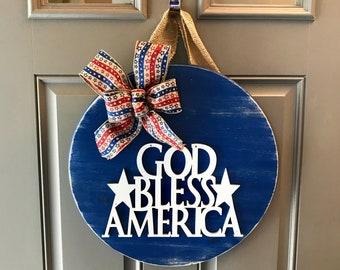 Fourth of July, Door Hanger, Independence Day, Red White And Blue Wreath, Patriotic Wreath, Patriotic Door Hanger, God Bless America, USA