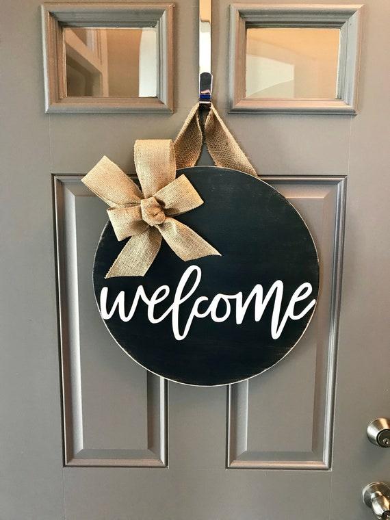 Welcome Door Hanger Welcome Door Sign Black Door Wreath | Etsy