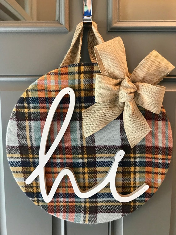 Plaid door hanger with bow