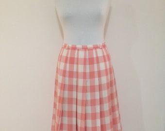Pleated Midi Skirt, Vintage 70s Skirt, 70s Midi Skirt Size 8, 70s Plaid Skirt