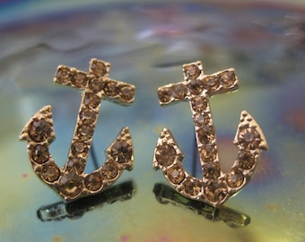 2bf70aed6 Gold Anchor Earrings - Stud Earrings - Rhinestone Anchor Earrings - Beach  Earrings - Beach Wedding - Nautical Jewelry