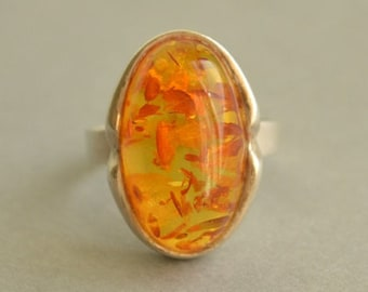 Art Deco sterling silver & oval Baltic amber ring Size 6