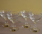 German LAUSITZER 4x hand cut etched crystal liquor martini glasses Made in the GDR, Vintage crystal glasses