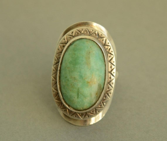 Vintage Oval Amazonite Cabochon and Sterling Silver Handmade Ring FREE Express Shipping!