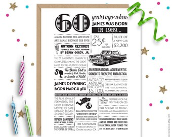 Personalized 60th Birthday Card 1959 Facts And Events