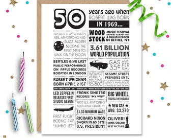 Personalized 50th Birthday Card 1969 Facts And Events