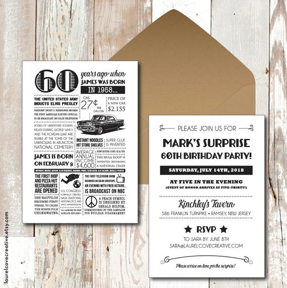 Personalized 60th Birthday Invitations 1958 Events And Facts