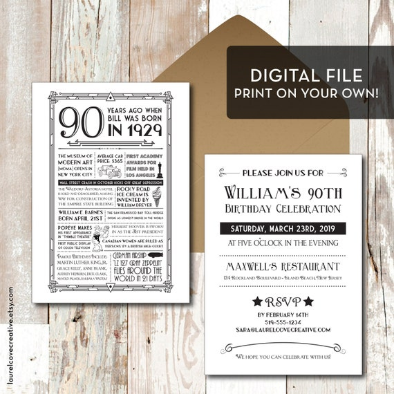 Printable Personalized 90th Birthday Party Invitation 1929
