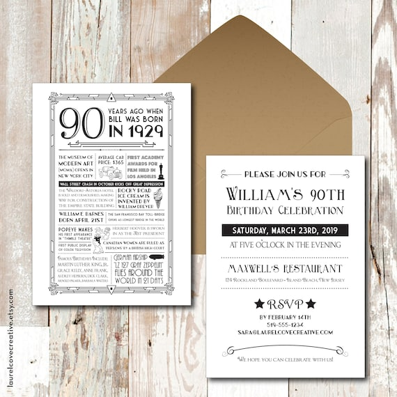 Personalized 90th Birthday Invitations 1929 Events Facts
