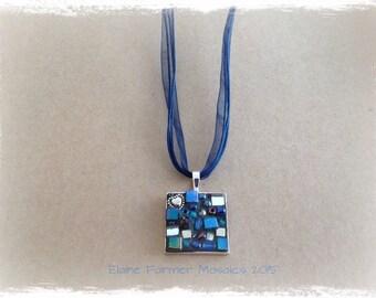 Blue Square Mosaic Necklace Pendant