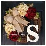 Fall Wreaths YEAR ROUND Door Decor - Everyday Wreaths - Red Wreath for Front Door - Hydrangea Wreath,  Wreaths