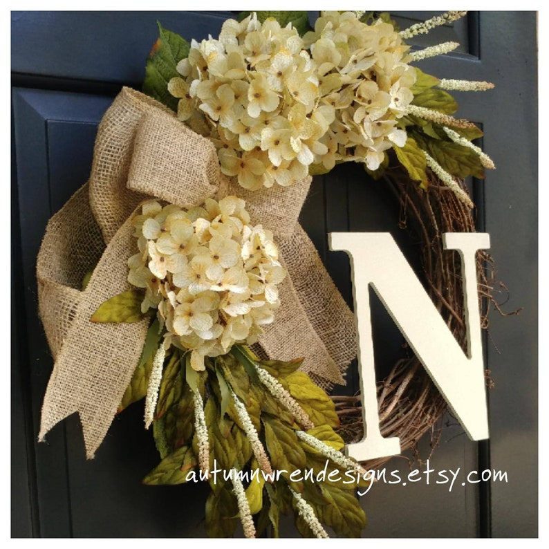 Hydrangea Wreath Wreath Wreath for Front Door Everyday Wreaths YEAR ROUND Door Decor SALE