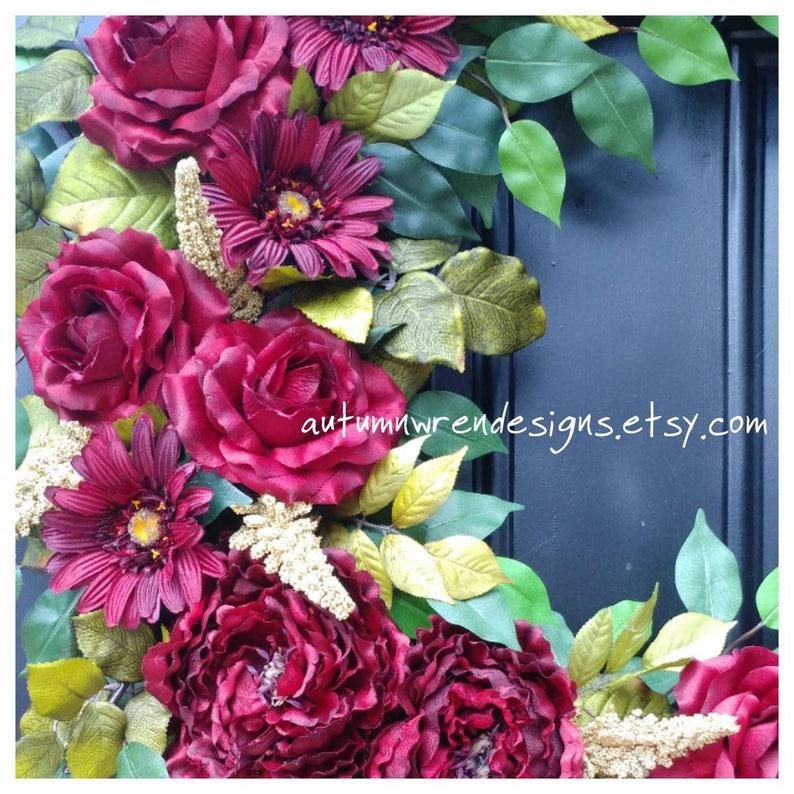FRONT Door Wreath Rose Peony and Daisy Wreath for Door Door Wreath LARGE 24 inch Wreath Red Wreath Wreaths