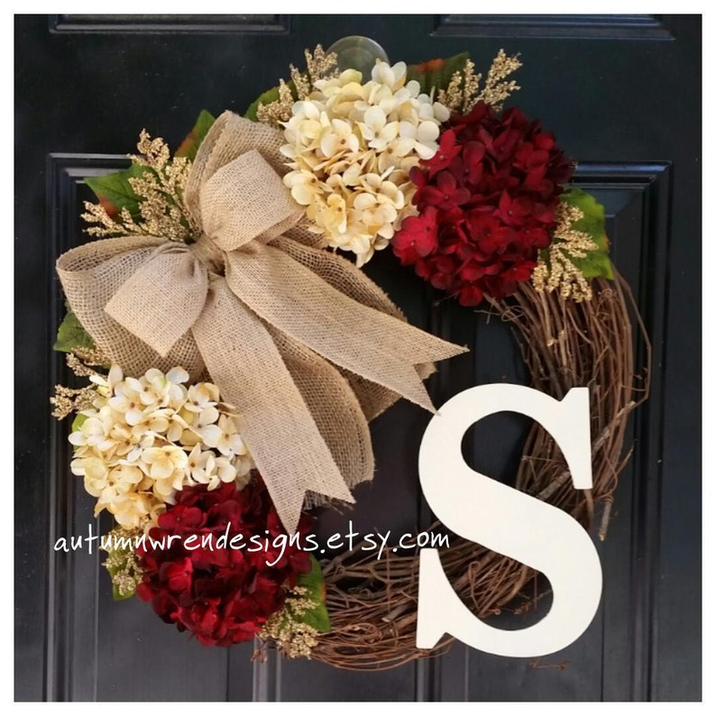 Year Round Door Wreath Cranberry Red and Cream Hydrangeas with image 1