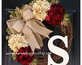 YEAR ROUND Door Decor - Everyday Wreaths - Red Wreath for Front Door - Hydrangea Wreath,  Wreaths