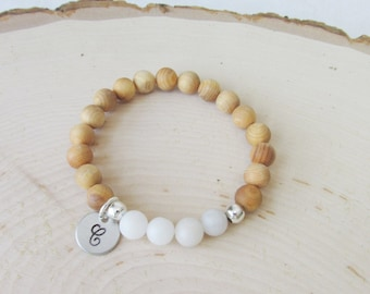 Personalized Essential Oil Diffuser Bracelet, White Agate and Fragrant Rosewood Beads, Boho, Diffuser Bracelet, Free Essentail Oil Sample