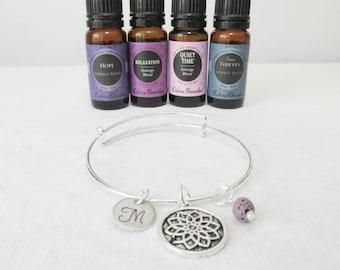 Lotus Flower Charm Bracelet, Essential Oil Diffuser Adjustable Bangle, Lava Stone, Initial Bracelet, Boho Jewelry, Yoga Bracelet