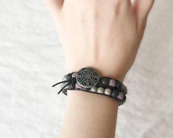 Essential Oil Leather Double Wrap Bracelet, Lava Stone Bracelet, Oil Diffuser Bracelet, Aromatherapy Jewelry, Free Essentail Oil Sample