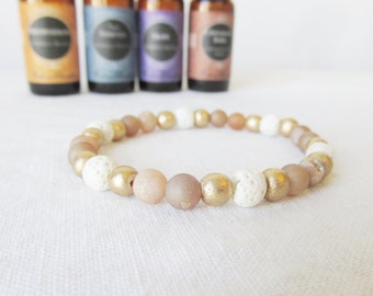 Essential Oil Diffuser Bracelet, Champagne Druzy Quartz Agate Lava Bead Bracelet, Diffuser Bracelet, Aromatherapy, Free Essentail Oil Sample