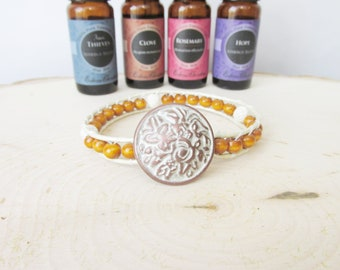 Essential Oil Leather Wrap Diffuser Bracelet, Lava Stone Bracelet, Oil Diffuser Bracelet, Aromatherapy Jewelry, Free Essentail Oil Sample