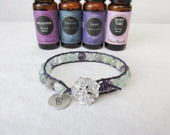 Essential Oil Leather Wrap Diffuser Bracelet, Flourite & Lava Stone Bracelet, Initial Jewelry, Diffuser Bracelet, Free Essentail Oil Sample