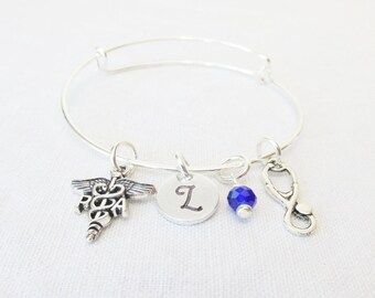 Gifts For Physician Assistants, Adjustable Bangle Bracelet, Initial Jewelry, Birthstone Bracelet, Graduation Gift, Gifts For PAs