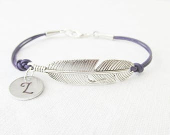 Silver Feather Leather Bracelet, Feather Bracelet, Personalized Initial Bracelet, Custom Jewelry, Boho Feather Jewelry, Gifts For Her