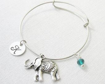 Silver Indian Elephant Adjustable Bangle Bracelet, Elephant Bracelet, Initial and Birthstone Bracelet, Elephant Jewelry, Boho Jewelry