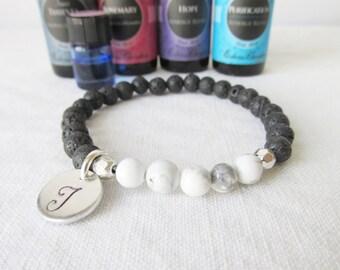 Essential Oil Diffuser Bracelet, Lava Bead Bracelet, Initial Bracelet, Lava Beads, Diffuser Bracelet, aromatherapy,Free Essentail Oil Sample