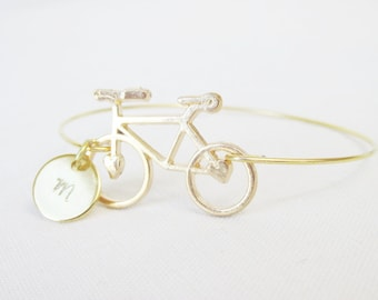 Gold Bicycle Bracelet, Initial bracelet, Personalized Gold Bangle Bracelet, Vintage Bicycle Bracelet, Bridesmaid Gifts, Gifts For Her