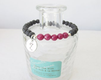 Personalized Essential Oil Diffuser Bracelet, Ruby Gemstone and Lava Bead Bracelet, Lava Beads,Diffuser Bracelet, Free Essentail Oil Sample