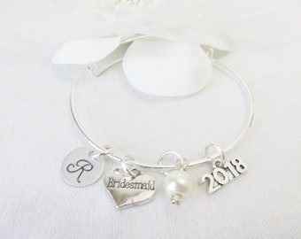 Gifts For Bridesmaids, Bridesmaid Adjustable Bangle Bracelet, Personalized Bridesmaid Gift, Initial Bracelet, Wedding Jewelry,Gifts For Her