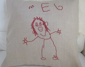 Your Child's Art Work Hand Embroidered on a Custom Handmade Linen Pillow Cover - Basic