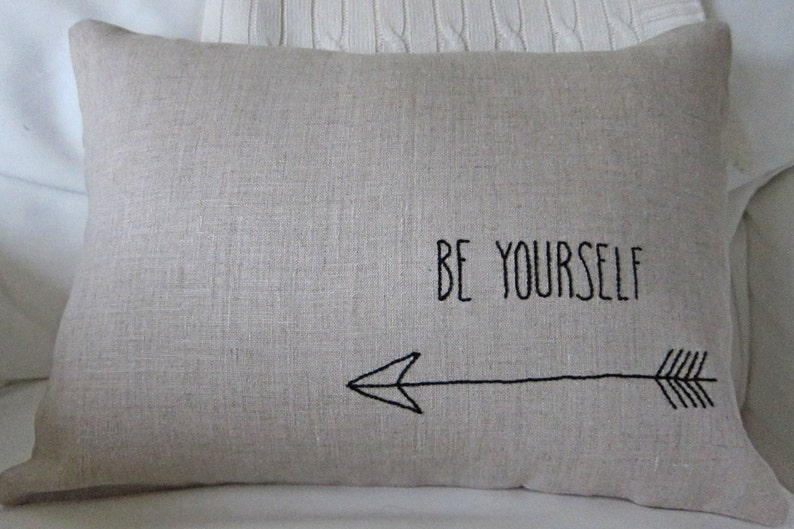 Hand-Embroidered Be Yourself Saying on 100/% Natural Unbleached Linen 12 x 18 Lumbar Pillow Cover