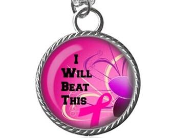 Cancer Necklace, Survivor, Awareness, Pink Ribbon Image Pendant Key Chain Handmade