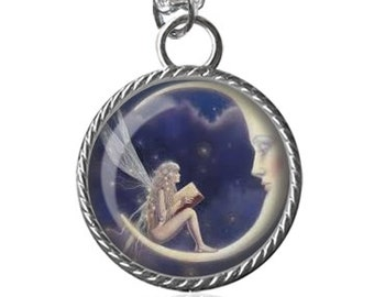 Fairy Necklace, Moon, Fairies Image Pendant Key Chain Handmade