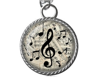 Music Necklace, Treble Clef Necklace, Song Notes Image Pendant Key Chain Handmade