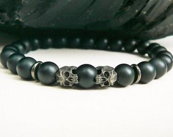 Men's Skull Bracelet, Men's Bracelet, Men's Beaded Bracelet, Bracelet For Men, Skull Jewelry, Matte Black Onyx, Men's Jewelry, Oxidized