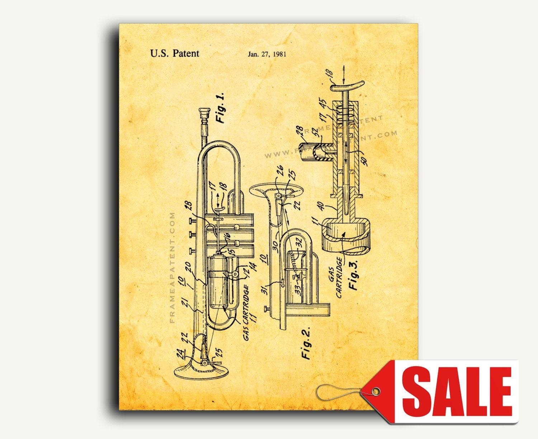 Patent Print Flaming Trumpet Patent Wall Art Poster