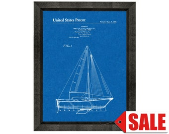 Sailboat Patent Print Poster - 1976 - Historical Vintage Wall Art - Great Gift Idea