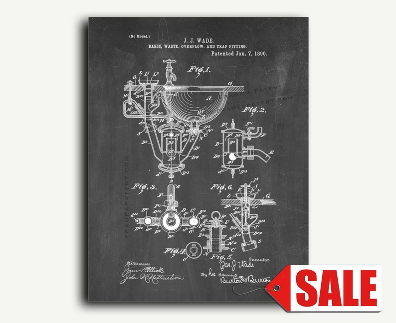 Patent Art - Basin Waste Overflow And Trap Fitting Patent Wall Art Print