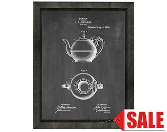 Tea Pot Patent Print Poster - 1889 - Historical Vintage Wall Art - Great Gift Idea