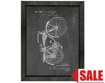 Schwinn Bicycle Patent Print Poster - 1939 - Historical Vintage Wall Art - Great Gift Idea