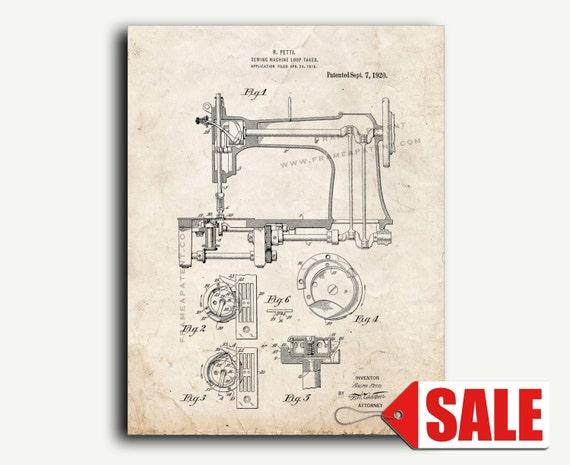 Patent Art Sewing Machine Patent Wall Art Print Etsy Gorgeous Patent For Sewing Machine