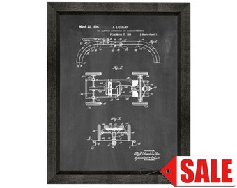 Toy Electric Automobile And Roadway Patent Print Poster - 1938 - Historical Vintage Wall Art - Great Gift Idea