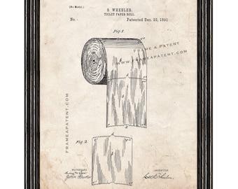 Framed Patent Print - Toilet Paper Roll WITH Black Wood Frame - Framed Patent Art
